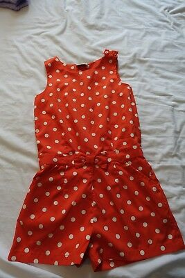 Next girls jumpsuit aged 5-6 red with white spots, great condition