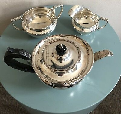 Solid Silver Mappin Webb Teapot 3 Pieces Set Approx 850g England 19th Century