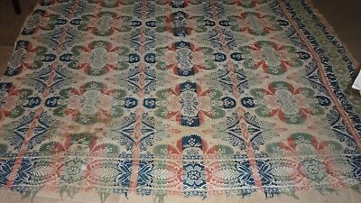 """Antique Linsey Woolsey Hand Woven Coverlet 84"""" by 87"""" Fair Condition"""