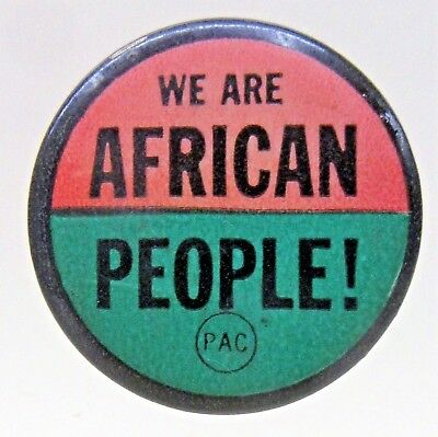 """Civil Rights WE ARE BLACK PEOPLE!  PAC 1.25"""" pinback button ^"""