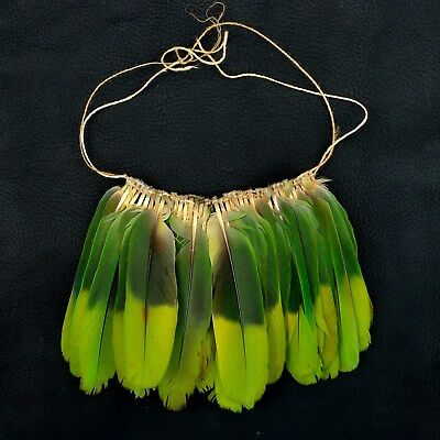 AMAHUACA Tribe Peru Parrot Feather Necklace Chest Ornament Amazon Museum Piece