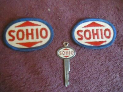Vintage Sohio  Standard Oil Company   Embroided Unform Patches  & Key Lot