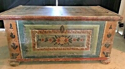 Antique Dowry Blanket Chest Probably PA/German c.1806 Working Lock/Key