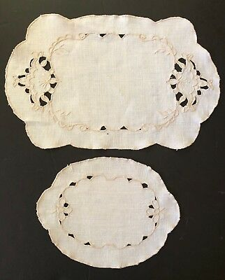 Lot 2 VINTAGE Large Linen Embroidered Large Doilies - Cut Work