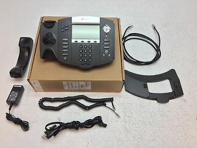 Polycom SoundPoint IP 550 VoIP Business Phone w/ Stand, Handset, & Adapter-RESET