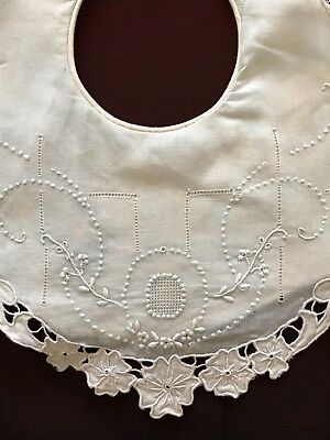 Beautiful Vintage Whitework Pale blue Baby Bib with handmade embroidery