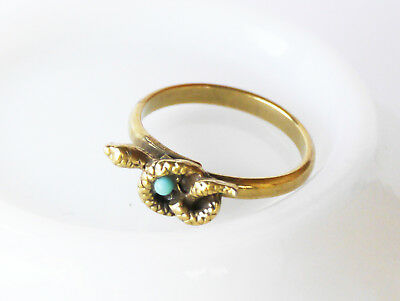 Vintage snake adjustable ring with faux turquoise