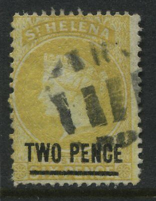 St.Helena QV 1882 2d on 6d yellow used