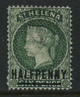 St.Helena QV 1884 1/2d on 6d green used