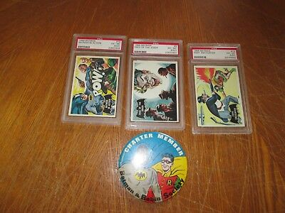 lot of 3 vintage 1966 psa batman cards and charter member pin