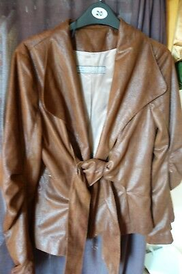 Zara Basic  size S/ wet look brown jacket with tie front. shaped sleevles