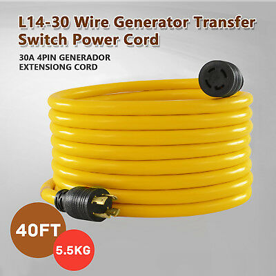 30 Amp 40FT Nema L14-30 125/250V Wire Generator Extension Switch Power Cord