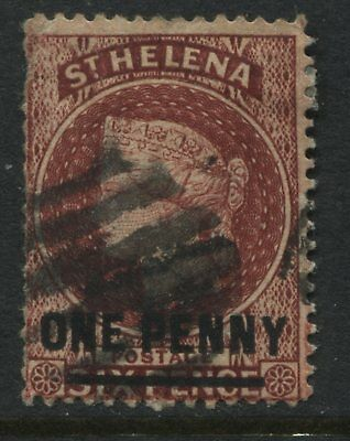 St.Helena QV 1883 1d on 6d brown red used