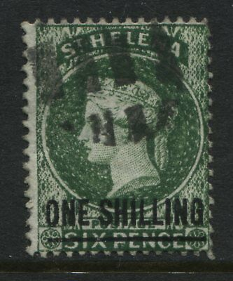 St. Helena QV 1882 1/ on 6d deep green used