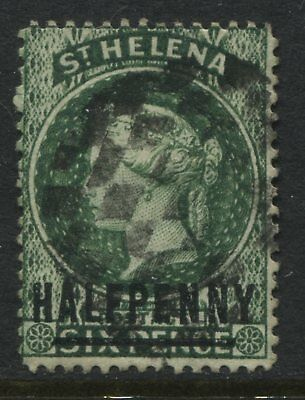 St. Helena QV 1884 1/2d on 6d  green used