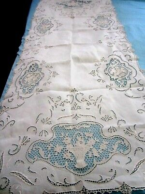 "Antique  Hand Made Lace Runner - Flower Basket Pattern - 24""x61"""