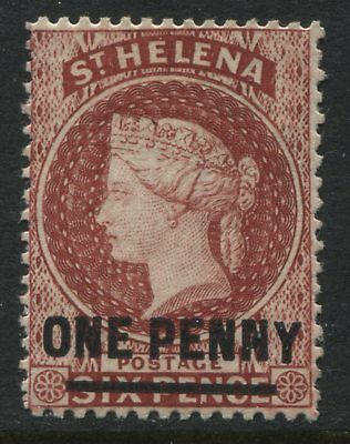 "St. Helena QV 1887 1d on 6d  red mint o.g., Low ""Y"""