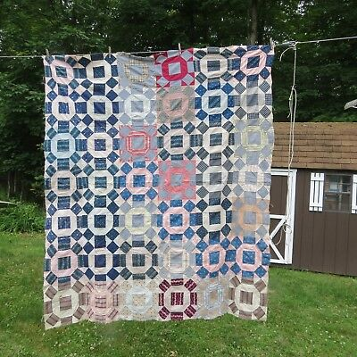 """Antique Quilt Top 1800's Shirtings 68""""x 79"""""""