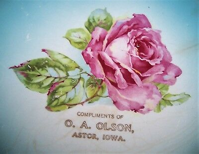 Early 1900s ASTOR, IOWA (IA) advertising plate, O.A. Olson. Obsolete town