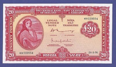 Gem Uncirculated 20 Pounds 1976 Banknote From Ireland !!!
