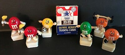 M&M's Olympic Toppers 6pc Lot plus Olympic Heroes Trading Cards-RARE
