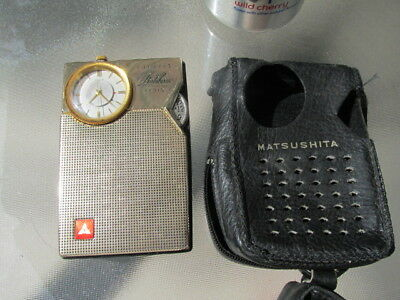 Vintage Matsushita T-92 Portalarm Transistor Radio With Jeweled Watch Movement