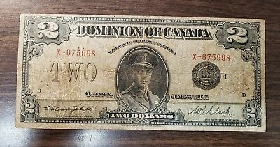 1923 $2 Two Dollar DOMINION OF CANADA Banknote Black Seal