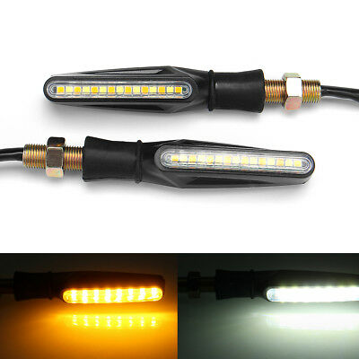 Pair 12V Motorcycle Dual Color Led Turn Signal Indicator Drl Flowing Sequential
