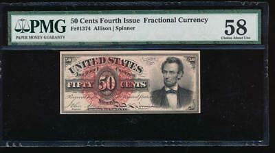 AC Fr 1374 $0.50 1869 fractional fourth issue PMG 58 LINCOLN