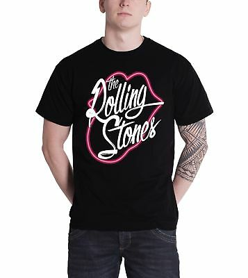 The Rolling Stones Neon Tongue Logo Outline Official Mens New Black T Shirt