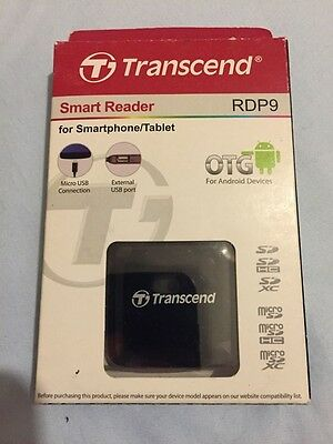 Genuine TRANSCEND Smart Reader OTG MICRO USB for Smartphone/Tablet RDP9 (Black)