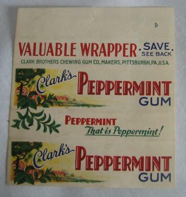 2-ORIGINAL 1930's CLARK'S PEPPERMINT CHEWING GUM PAPER WRAPPERS