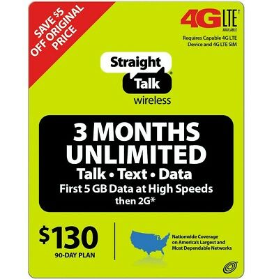 Straight Talk Refill Card 90 Day Unlimited Talk Text Data 3 months 130usd plan