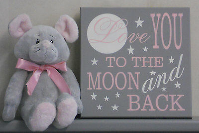 Love You To The Moon And Back Nursery Decor Baby Painted Sign Pink