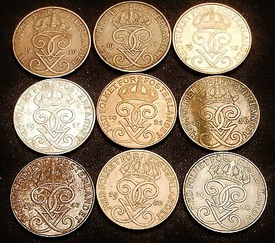 9 x 1910-1950 Sweden 1 Ore Coins - Nice Looking Old Coins