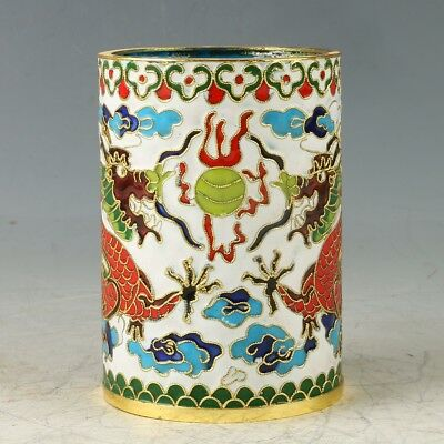 Chinese Cloisonne Handwork Carved Dragon Brush Pot GL387