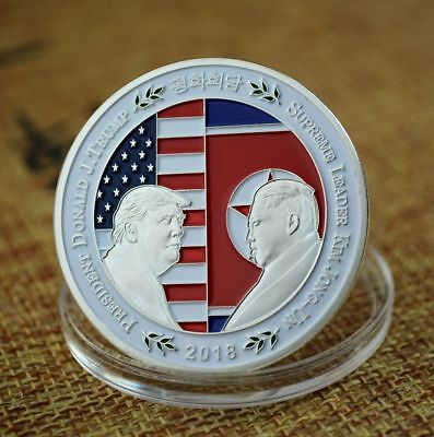 2018 North Korea–United States Summit Donald J. Trump Kim Jong Un Silver Coin