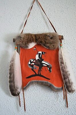 """Native American Hand Made Painting of """" The End of the Trail"""" on Rabbit Fur."""