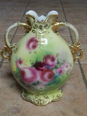 Antique Nippon Hp Porcelain Rose Design  Handled Vase