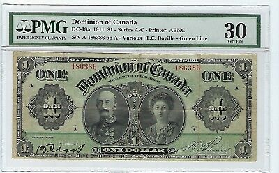 DC-18a PMG VF 30  Lord & Lady Grey $1 1911 Dominion of Canada Series A