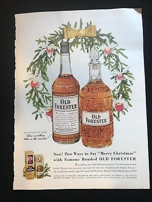 1950s Old Forester Whiskey Ad Merry Christmas
