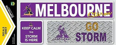 Official Melbourne Storm NRL iTag UV Car Window Decal Sticker Sheet (3 Pack)