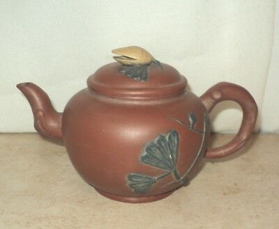 Vintage YIXING Pottery Tea Pot Red Clay Chinese - Almond Or Pistachio Finial Lid