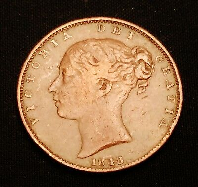 1848 Great Britain Farthing, Nice Coin - Double Die Reverse?