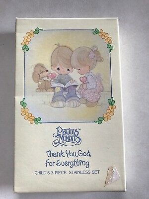 Enesco Precious Moments unused stainless baby .youth knife .spoon and fork