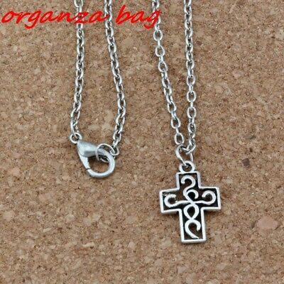 3pcs Filigree Cross Charms Pendant Necklaces Ancient silver Jewelry DIY 18 inche
