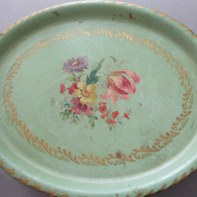 "Vintage 13"" Oval TOLE Tray Pretty Mint GREEN w Pink TULIP + Colorful FLOWERS"