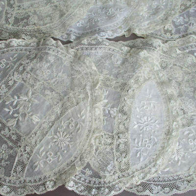 "Set of 8 Vintage French NORMANDY LACE 8.5"" Round Doilies * Embroidered FLOWERS"