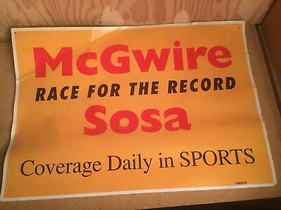 "ORIGINAL McGwire Sosa ""Race For The Record"" NEWS CARDBOARD ADVERTISING SIGN"