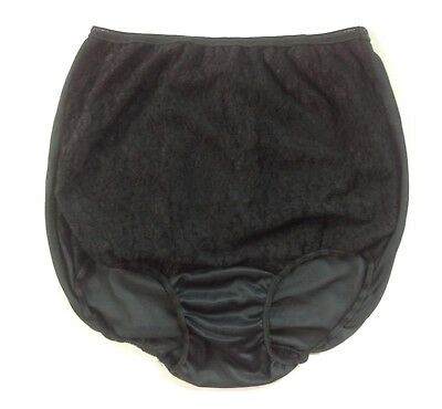 Vintage Silky Black All Nylon Lace Overlay Brief Panties Pillow Tab